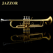 Professional JAZZOR JZTR-300 Beginner Trumpet B Flat Gold Lacquer trompete trompeta musical instruments+trumpet mouthpiece case