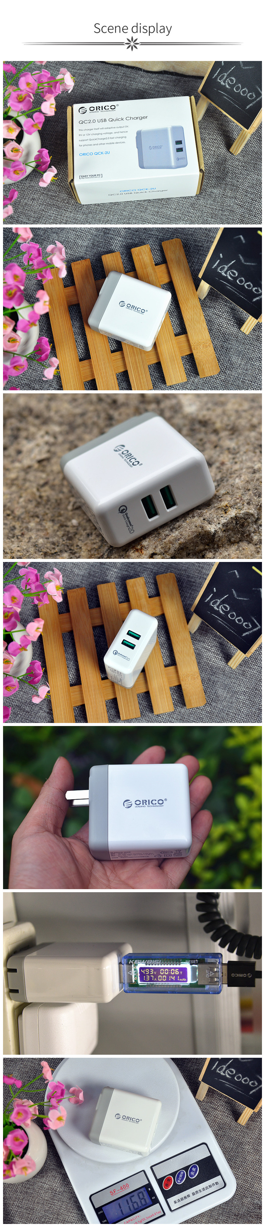 ORICO USB Quick Charger QC2.0 Dual Ports Wall Charger 36W Mobile Phone Charger for Apple Samsung Xiaomi Huawei Portable White
