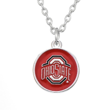 Skyrim Fashion Football NCAA Ohio State Buckeyes Team Logo Necklace Zinc Alloy Rhodium Plated Enamel Workmanship For Fans