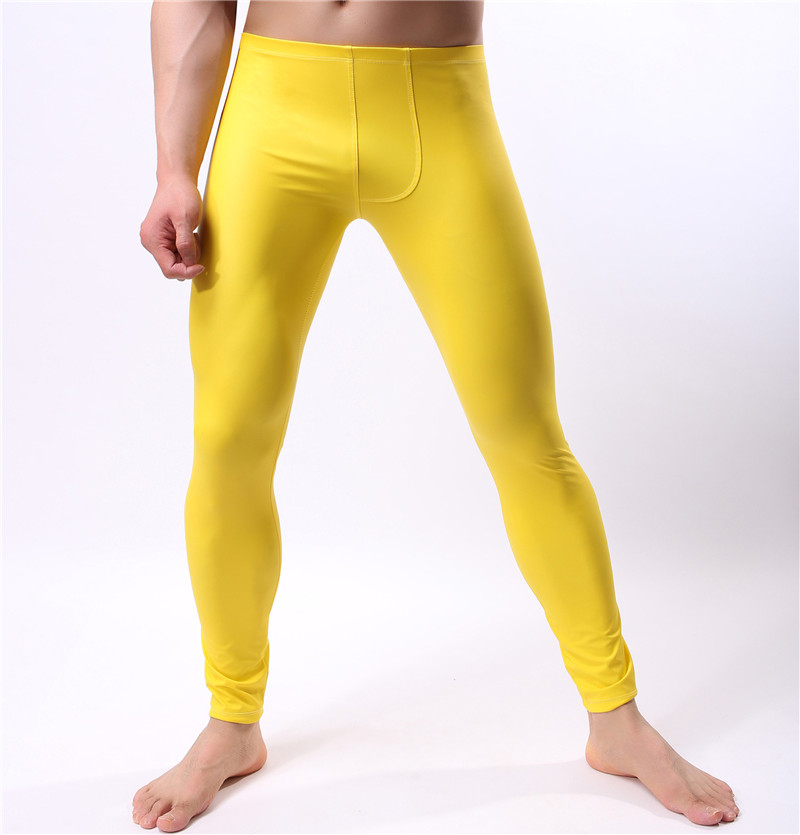 Leggings Underwear Long-Trousers Faux-Leather Pants Fitness Fashion Stretch Sexy Male title=