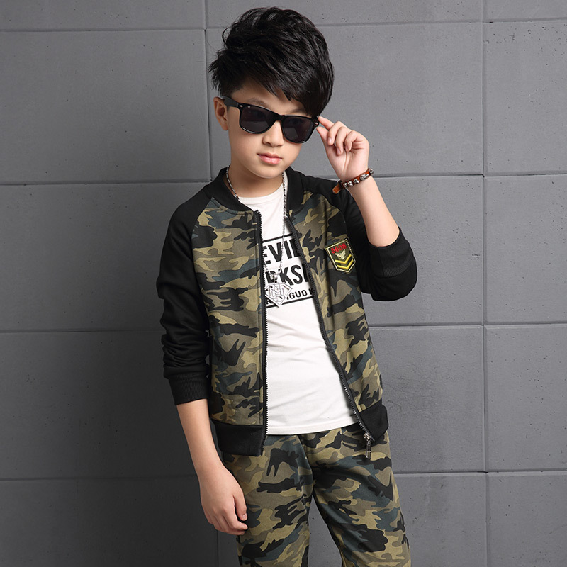 Children Clothing Sets For Boys Camouflage Sports Suits Autumn Kids Tracksuits Teenage Boys Sportswear 6 8 10 11 12 13 14 Years<br><br>Aliexpress