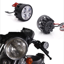 Pair 4 LED Lights Scooter Motorcycle Headlight Motocicleta Fog Lamp 15W For Harley Honda Suzuki Yamaha Kawasaki Cafe Racer Moto