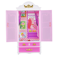 New Sale! Pink Closet Wardrobe For Princess Doll House Bedroom Beautiful Furniture Miniature Toy Best Gift For Kid Children Hot(China)