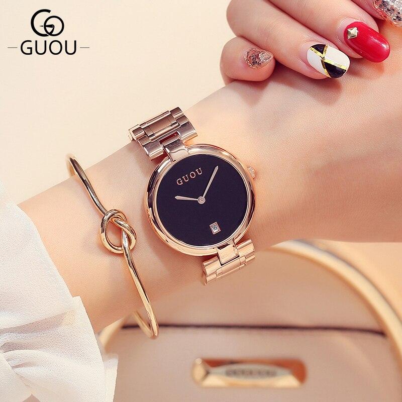 GUOU Brand Fashion Quartz Women Watches Rose Gold Steel Band Bracelet Ladies Wristwatch Clock Dress Reloj Mujer Relogio Feminino<br>