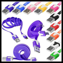 Free ship 10000/lot 1M Colorful noodle Flat V8 micro usb data charger cable for Samsung,etc.