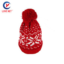 2017 New Hot jacquard red beanie hat with pompons for women snowflake pattern Print Knitted beanies for guys DS20170118 x19