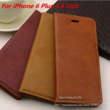 Cowhide Leather Case For Apple iPhone 6 Plus 5.5 Filp Stand Design Cell Phones Case With Card Holder Wallet 6plus Phone Cases