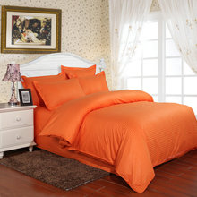 100% Cotton Satin Stripes Bedding Set 3/4pcs Hotel Duvet Cover Set Orange Solid Color Bed Sheet Set Twin Full Queen King Size(China)