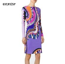 2016 Autumn Luxury Brands Jersey Silk Dress Women's Long Sleeve Charming Geometric Print Spandex Stretchable Signature Dresses(China)