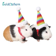 Pet Mouse Hamster Christmas Rainbow Hat Cute Rat Cap Cotton Filled Knit Pompom Hat With Adjustable Elastic Band Small Pet hat(China)