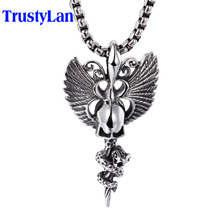 TrustyLan Punk Rock Men Accessory Steel Wing Pendant Popcorn Chain Necklace Feather Shape Skull Jewellery Gift For Men Shopping