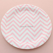 "24pcs 9"" Pink Chevron Dessert Paper Plates Round,Personalized Dinner Dishes Bulk Birthday Wedding Baby Shower Holiday Party"