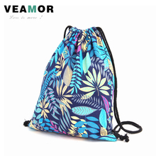 Blue Leaf Shoulder Bags for Girls Canvas Drawstring Beam Port Back Gilrls Leaves Backpack Travel Shoes Storage Bags B496