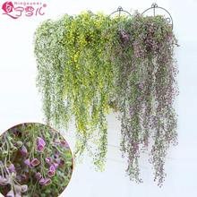 2015 Simulation  hanging plastic flower basket rattan vine bar and restaurant interiors of the pink flower vine 2 bunches/pack