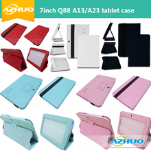 7 Inch Q88 Leather Case for Tablet PC Allwinner A13 Q88 A23 Q8 Q88 MID leather case cover free shipping(China)