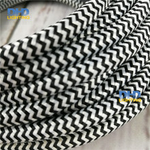 2X0.75mm black-white zigzag color vintage fabric cable textile pendant lamp power cord electric copper 2 cores fabric wire