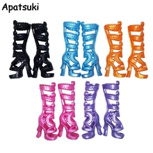 5pairs/lot Fashion Children Kids Baby Toys Doll Accessories High Heel Boots Shoes For Monster High Dolls For 1/6 BJD Doll(China)