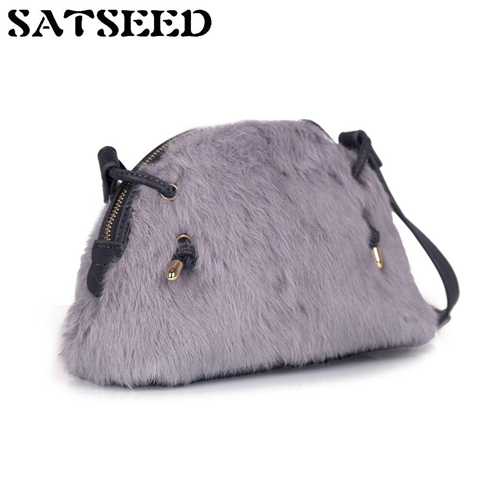 2017 New Japan Style Winter Rabbit Women Bag Shell Bag Ladies Wind Fur Feather Shoulder Messenger Bag Fashion<br>