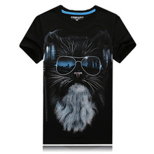 2017 New 3D Shirt Creative Personality Glasses Male Cat New Spring Foreign Korean Tide  Mens Cotton Summer S-6XL Free shipping