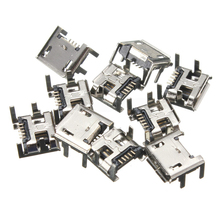 10pcs/set Micro USB Female Socket 5pin Type B 4 Vertical Legs Soldering Connectors