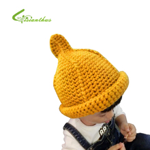 Children Bucket Hats Kids Knitted Skullies Baby Girls Boys Autumn Winter Hats Candy Colors Skull Warm Caps  Wholesale