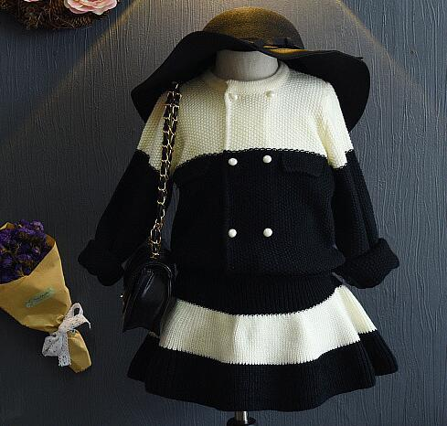 2016 new brand fashion big black and white knitted wool cardigan children knitted skirt suit 2pcs clothes sets for2-7years old<br><br>Aliexpress