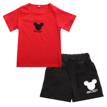 2pcs Mickey Mouse Cotton Unisex Baby Boy Girl Clothes Short Sleeve T-shirt+Shorts Pants Outfits Summer Casual Baby Clothing