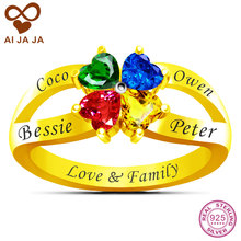 AIJAJA Real Sterling Silver Personalized Name & Birthstone Flower Mom Ring, Free Engraving & 4 Heart Stones Family Mother Rings(China)