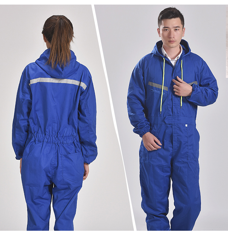 Men Women Coveralls Long Sleeve Hooded Reflective strip Overalls Auto Repair Engineering Spray Paint Workwear Working Uniforms (15)