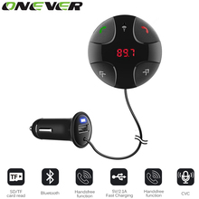 Onever A2DP Bluetooth Handsfree Car Kit Wireless Bluetooth FM Transmitter MP3 Player Car Kit Charger For Samsung Smart Phone(China)