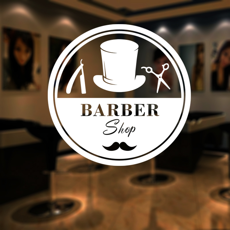 Man Barber Shop Name Sticker Chop Bread Decal Haircut Shavers Posters Vinyl Wall Art Decals Decor Windows Decoration Mural