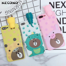 NECONO 3D Brown Bear For iphone 6 6s 7 Plus Cute Cartoon Dinosaur Pink Phone Cases For iphone 8 8Plus Soft TPU Case Back Cover(China)