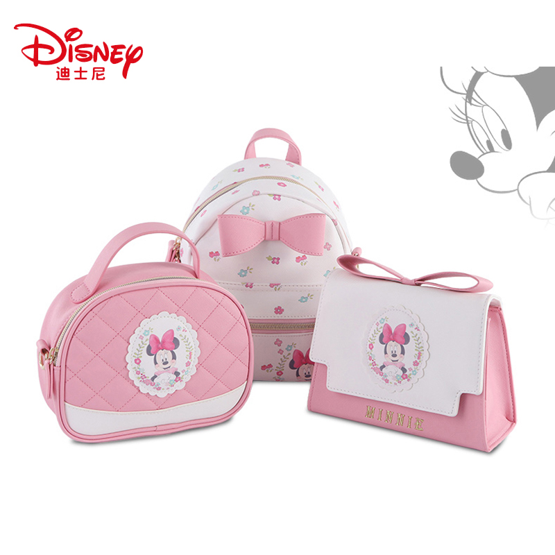 Genuine Disney 3PCS/SET Bags Women Backpack Mummy Minnie Feeding Travel Diaper Bag Waterproof Diaper Bags title=