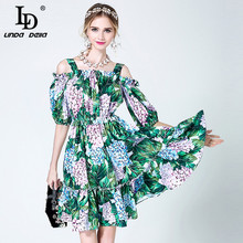 High Quality 2017 Fashion Designer Summer Dress Women's elegant Off the Shoulder Spaghetti Strap Casual Green Floral Print Dress