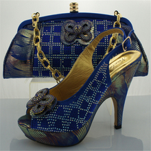 2017 Blue Ladies Matching Shoe and Bag Italy Italian Shoe with Matching Bag Shoe and Bag Set Women Pumps Decorated with Diamonds