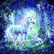 Bricolage diamant broderie licorne animal plein carré/rond diamant broderie broderie point de croix diamant cristal mur peinture(China)