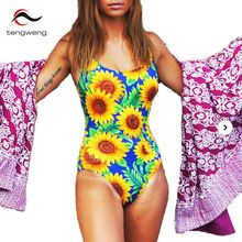 Tengweng One Piece Swimsuit 2017 New Backless Swimwear Women Sunflower Floral Print Bathing Suit Sexy Beachwear Brazilian cheap(China)