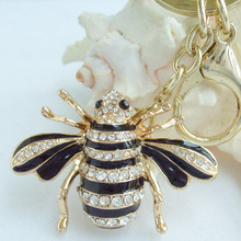 "2.16"" Insect Bee Honeybee Keychain Pendant Clear Rhinestone Crystal KJC0110C1(China)"