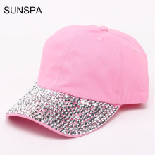 SUNSPA Fashion Cotton Jean Caps Women Rhinestone baseball cap white Patchwork diamond denim baseball caps lady's hat pink black
