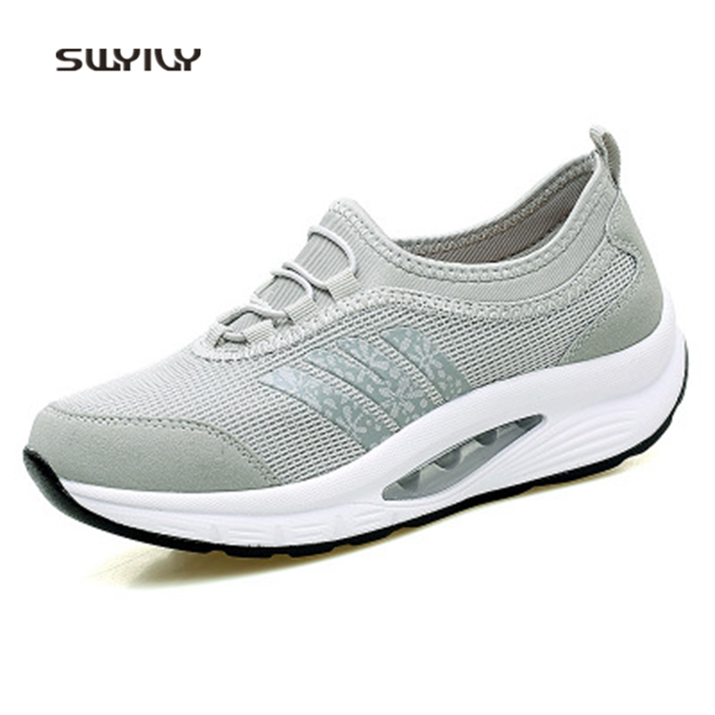 SWYIVY Women Toning Shoes Muffin Heel  Large Size41 Cushion Swing Shoes 2018 Mesh Breathable Lazy Slimming Shoes For Females