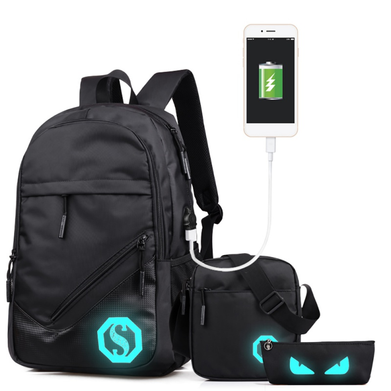 Womens Man Luminous City Walking Backpacks Travelling Backpack Sports Florescent Mark USB Function Pencil Pouch