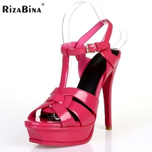 RizaBina woman real genuine leather brand sandals high heel platform rome shoes punk t-strap buckle footwear size 33-40 R08543