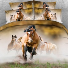 Royal Linen Source 6 Parts Per Set Bay Stallion leading his Mares 3d Hd Animal bedding set Horse bed sheet set(China)