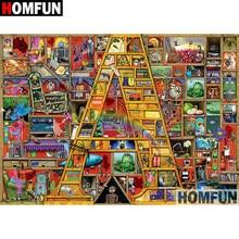 HOMFUN 5D DIY Diamond Painting Full Square Round Drill Cartoon Bookshelf Embroidery Cross Stitch Mosaic Home Decor Gift A08398