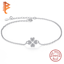 BELAWANG Authentic 100% 925 Sterling Silver Chain bracelet female CZ Crystal Symbol of Love Clover Charm Bracelets & Bangles(China)