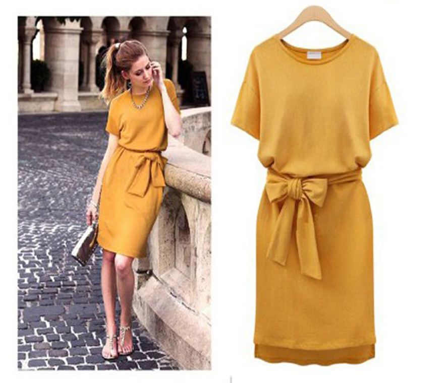 Uk European Vestidos Women S 2017 Summer Casual Yellow Batwing Short Sleeve Bandage Dress Robe Design Vestido Female Clothing In Dresses From