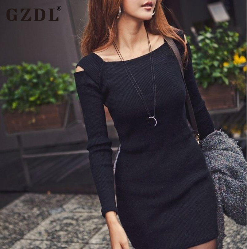 GZDL Sexy Spring Autumn Dress Women's Shoulder Long Sleeve Knitted Casual Bodycon Pencil Party Dresses Mini Vestidos CL1114  -  Official Store store