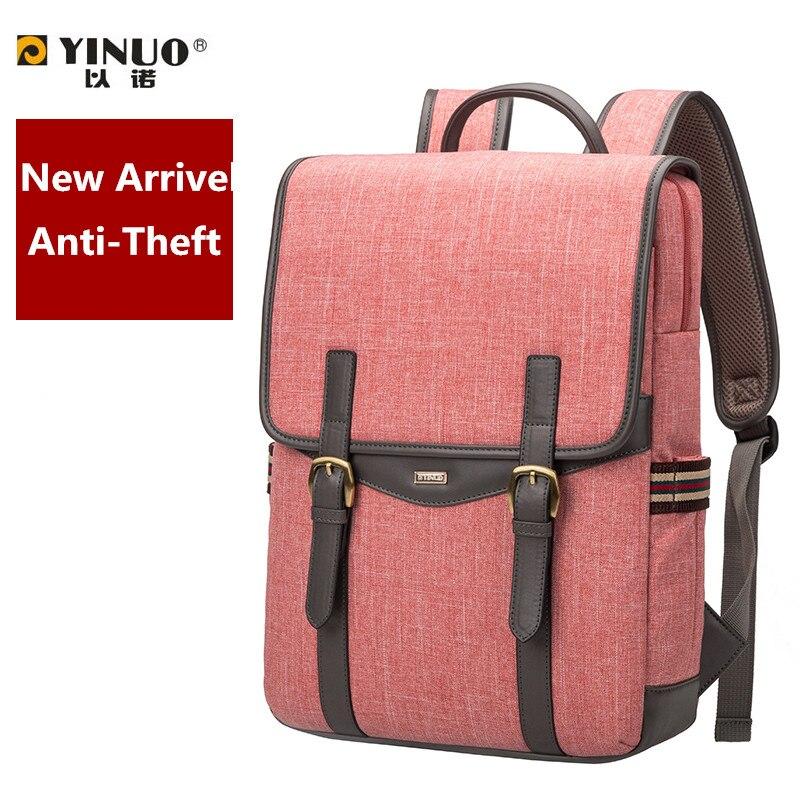 2017 YINUO 15 inch waterproof laptop bag two-way zipper backpack 14 notebook women mens shoulder bag anti-theft students bag<br><br>Aliexpress