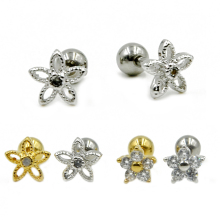 Crystal Zircon Hollowed-out Silver Gold Anodized Surgical Steel Flower Ear Tragus Helix Earring Stud Ear Jewelry(China)