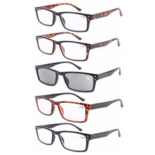 R057 Eyekepper 5-pack Spring Hinge Retro Reading Glasses Include Reading Sunglasses +1/1.25/1.5/1.75/2/2.25/2.5/2.75/3/3.5/4(China)